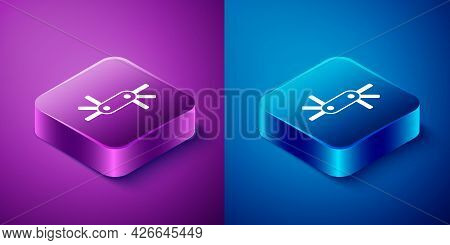 Isometric Tool Allen Keys Icon Isolated On Blue And Purple Background. Square Button. Vector