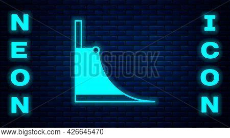 Glowing Neon Skate Park Icon Isolated On Brick Wall Background. Set Of Ramp, Roller, Stairs For A Sk