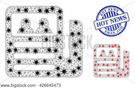 Mesh Polygonal Newspaper Symbols Illustration In Infection Style, And Rubber Blue Round Hot News Sta