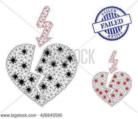 Mesh Polygonal Break Heart Icons Illustration Designed Using Outbreak Style, And Grunge Blue Round F