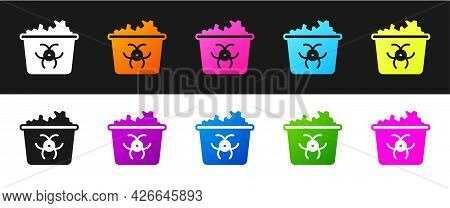Set Infectious Waste Icon Isolated On Black And White Background. Tank For Collecting Radioactive Wa