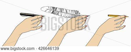 Woman's hand with a pencil, a feather pen, a pen. Retro design element.
