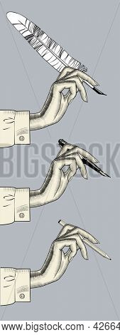 Woman's hand with a pencil, a feather pen, a pen. Retro design element. Vintage engraving stylized drawing.