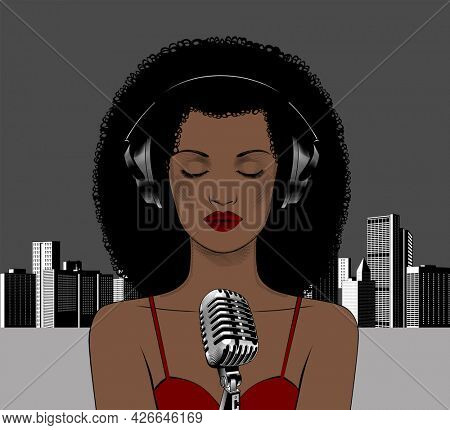 Beautiful African American singer sings against the background of a modern city with a microphone. Avatar of a young beautiful woman. Vintage engraving stylized drawing.