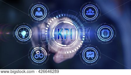 Internet, Business, Technology And Network Concept. Kpi Key Performance Indicator For Business Conce