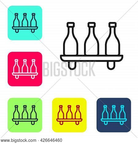 Black Line Bottle Of Wine Icon Isolated On White Background. Wine Varieties. Set Icons In Color Squa