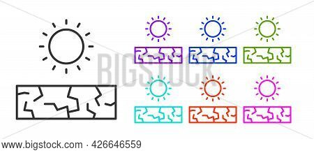 Black Line Drought Icon Isolated On White Background. Set Icons Colorful. Vector
