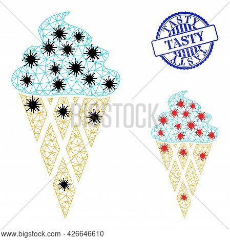 Mesh Polygonal Icecream Icons Illustration In Infection Style, And Rubber Blue Round Tasty Stamp Sea