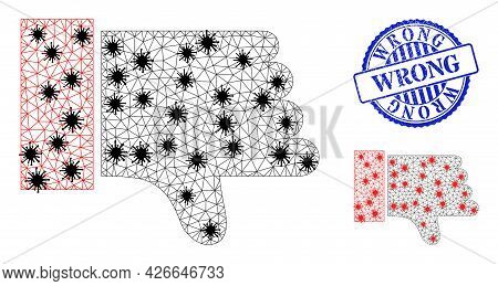 Mesh Polygonal Thumb Down Symbols Illustration In Infection Style, And Grunge Blue Round Wrong Stamp