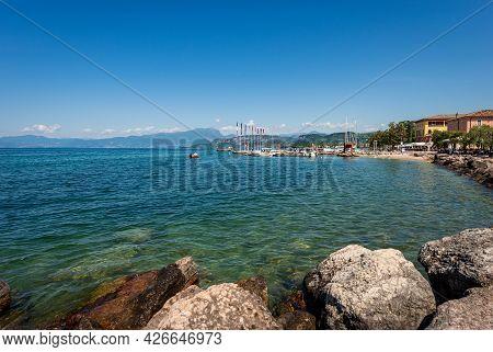 Lake Garda  (lago Di Garda) With The Port Of The Small Village Of Cisano, Bardolino Municipality, To