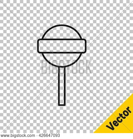 Black Line Lollipop Icon Isolated On Transparent Background. Food, Delicious Symbol. Vector