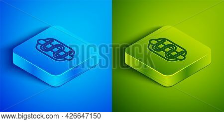 Isometric Line Hotdog Sandwich Icon Isolated On Blue And Green Background. Sausage Icon. Fast Food S