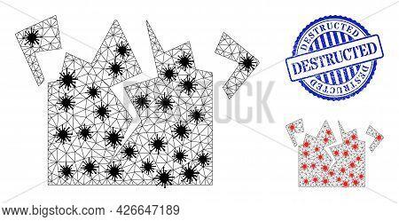 Mesh Polygonal Destruction Symbols Illustration With Outbreak Style, And Textured Blue Round Destruc