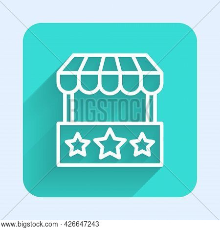 White Line Ticket Box Office Icon Isolated With Long Shadow Background. Ticket Booth For The Sale Of