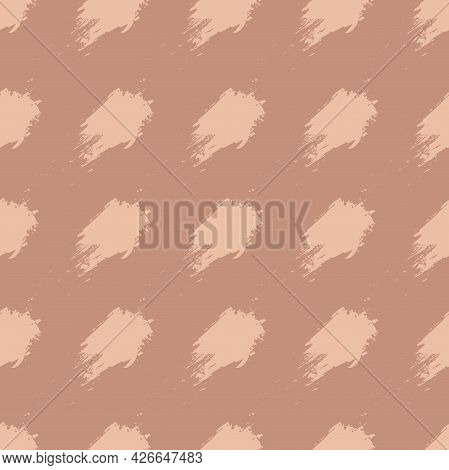 Copper Brown And Beige Hand Drawn Brush Stroke Blots Seamless Pattern. Vector Background For  Bed Li