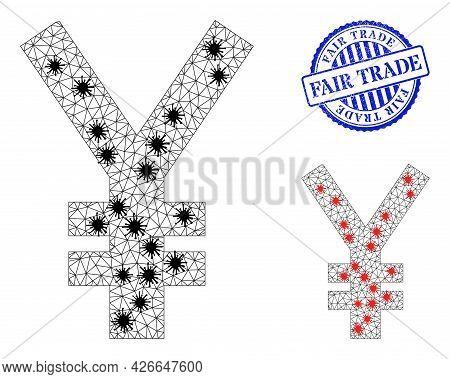 Mesh Polygonal Yen Symbol Symbols Illustration In Lockdown Style, And Rubber Blue Round Fair Trade S