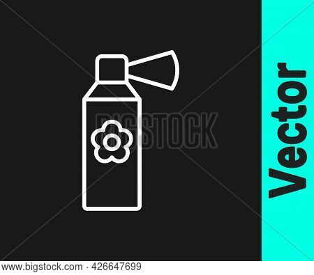 White Line Air Freshener Spray Bottle Icon Isolated On Black Background. Air Freshener Aerosol Bottl
