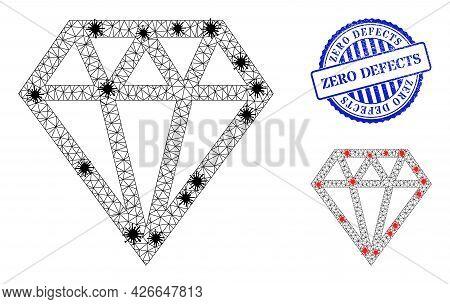 Mesh Polygonal Brilliant Symbols Illustration With Lockdown Style, And Distress Blue Round Zero Defe