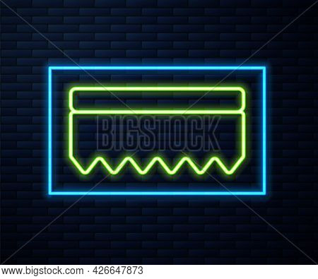 Glowing Neon Line Sponge Icon Isolated On Brick Wall Background. Wisp Of Bast For Washing Dishes. Cl