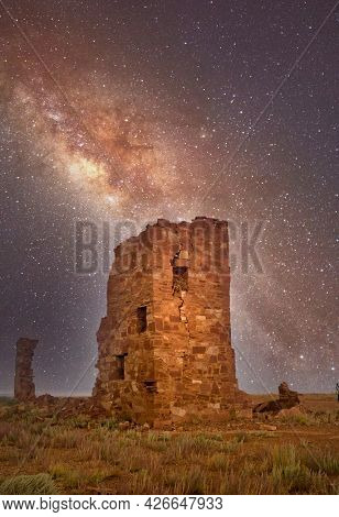Ruins of an ancient observatory long the historic Route 66 near Meteor Crater road in Arizona under a star filled sky