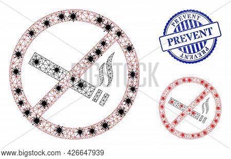 Mesh Polygonal Smoking Forbidden Symbols Illustration In Infection Style, And Distress Blue Round Pr