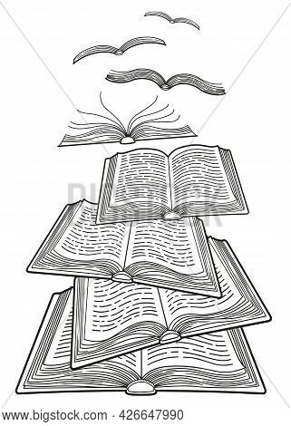 World Book Day. Concept Of The Books Flying Like Birds. Open Books. Coloring Page For Adults