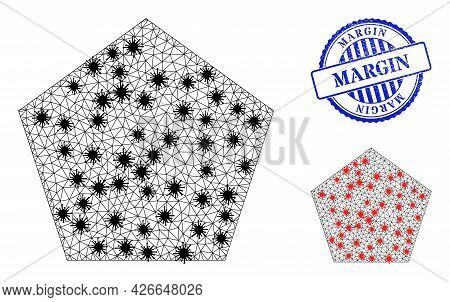 Mesh Polygonal Pentagon Symbols Illustration With Lockdown Style, And Scratched Blue Round Margin Ba