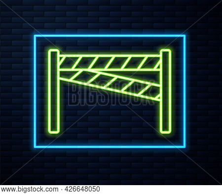 Glowing Neon Line Crime Scene Icon Isolated On Brick Wall Background. Vector