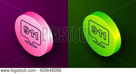 Isometric Line Telephone With Emergency Call 911 Icon Isolated On Purple And Green Background. Polic
