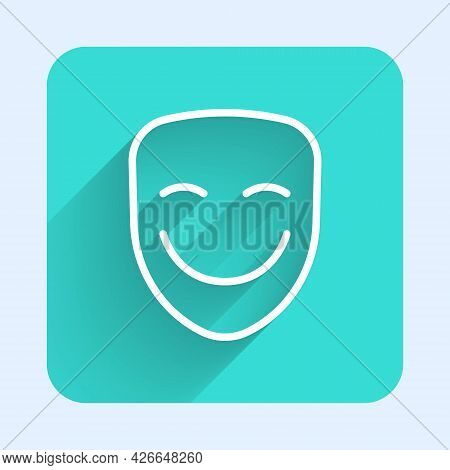 White Line Comedy Theatrical Mask Icon Isolated With Long Shadow Background. Green Square Button. Ve