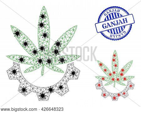 Mesh Polygonal Cannabis Industry Icons Illustration In Outbreak Style, And Rubber Blue Round Ganjah