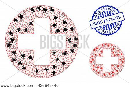 Mesh Polygonal Healthcare Symbols Illustration In Infection Style, And Grunge Blue Round Side Effect