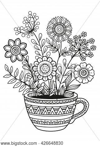 Doodle Flowers In Cup. Detailed Black And White Doodle Coloring Pagefor Adults