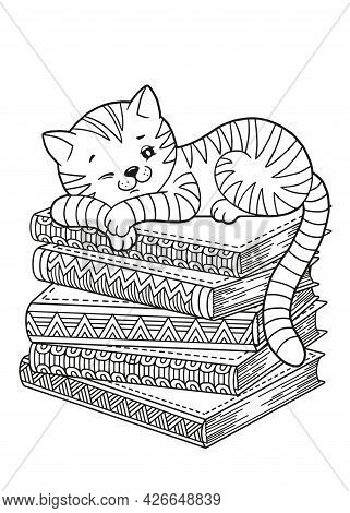 Books And Book Lover Sleeping Cat. Detailed Coloring For Adults. World Book Day