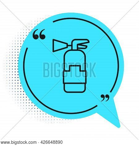 Black Line Fire Extinguisher Icon Isolated On White Background. Blue Speech Bubble Symbol. Vector