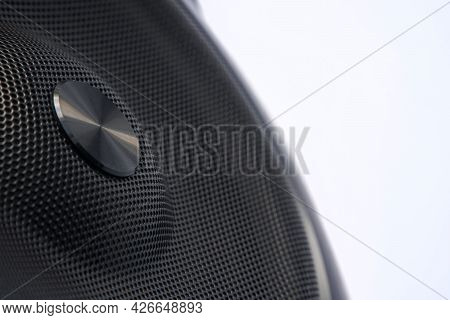 Metal Grill Of Audio Speakers On A White Background. Concept For Audio Technology, Digital Music, Au