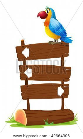 Illustration of a bird standing on a wooden signboard on a white background