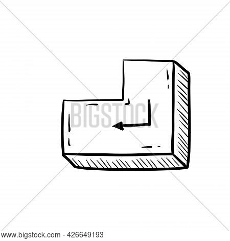 Enter Button. Part Of Keyboard. Concept Of Opening And Entering. Sketch Doodle Cartoon