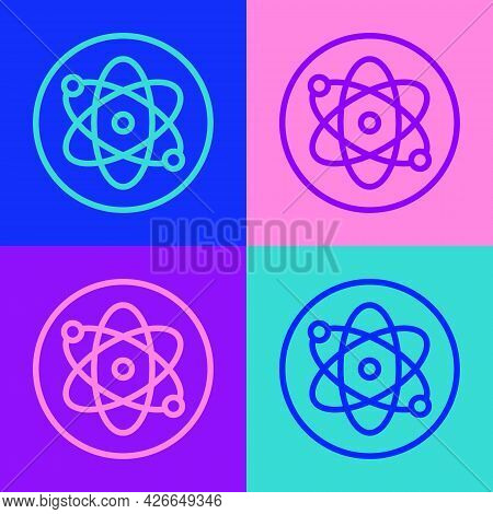 Pop Art Line Atom Icon Isolated On Color Background. Symbol Of Science, Education, Nuclear Physics,