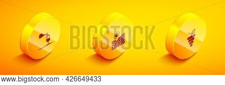 Set Isometric Wine Tasting, Degustation, Vineyard Wine Grapes And Bunch Of Icon. Vector
