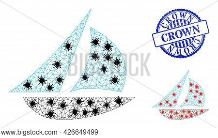 Mesh Polygonal Sailing Boat Icons Illustration With Lockdown Style, And Scratched Blue Round Crown B