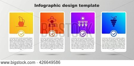 Set Decanter For Wine, Farmer The Hat, Drying Grapes And Bunch Of. Business Infographic Template. Ve