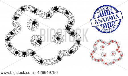 Mesh Polygonal Amoeba Icons Illustration In Outbreak Style, And Textured Blue Round Anaemia Stamp Se