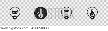 Set Delicate Wash, Meteorology Thermometer, Trash Can And Test Tube And Flask Icon. Vector