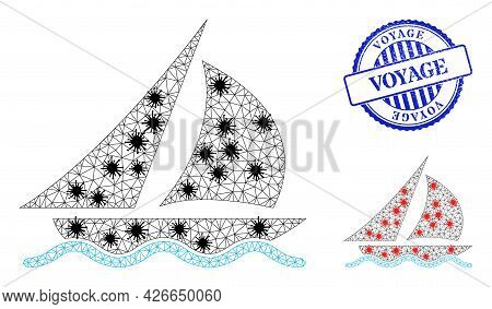 Mesh Polygonal Sailing Symbols Illustration Designed Using Outbreak Style, And Scratched Blue Round