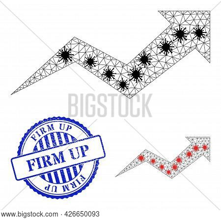 Mesh Polygonal Growing Arrow Chart Icons Illustration Designed Using Infection Style, And Distress B