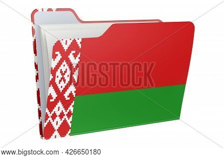 Computer Folder Icon With Belarusian Flag. 3d Rendering Isolated On White Background