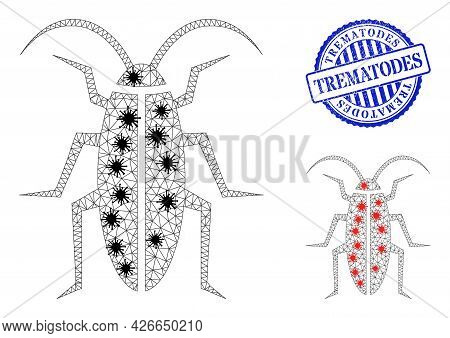 Mesh Polygonal Cockroach Icons Illustration Designed Using Outbreak Style, And Rubber Blue Round Tre