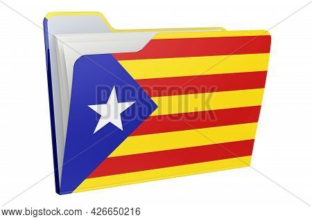 Computer Folder Icon With Catalan Flag. 3d Rendering Isolated On White Background