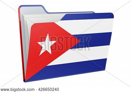 Computer Folder Icon With Cuban Flag. 3d Rendering Isolated On White Background